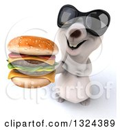 Clipart Of A 3d Happy Polar Bear Wearing Sunglasses And Holding Up A Double Cheeseburger Royalty Free Illustration