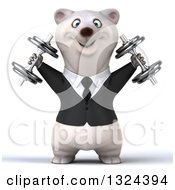 Clipart Of A 3d Happy Business Polar Bear Working Out Doing Shoulder Presses With Dumbbells Royalty Free Illustration