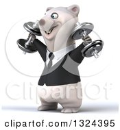 Clipart Of A 3d Happy Business Polar Bear Working Out Facing Left Doing Shoulder Presses With Dumbbells Royalty Free Illustration