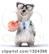 Clipart Of A 3d Happy Bespectacled Polar Bear Doctor Or Veterinarian Holding A Piggy Bank Royalty Free Illustration