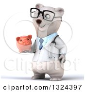 Clipart Of A 3d Happy Bespectacled Polar Bear Doctor Or Veterinarian Facing Left And Holding A Piggy Bank Royalty Free Illustration