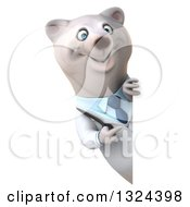Clipart Of A 3d Happy Polar Bear Doctor Or Veterinarian Pointing Around A Sign Royalty Free Illustration by Julos