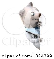 Clipart Of A 3d Happy Polar Bear Doctor Or Veterinarian Looking Around A Sign Royalty Free Illustration by Julos