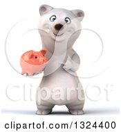 Clipart Of A 3d Happy Polar Bear Holding And Pointing To A Piggy Bank Royalty Free Illustration