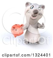 Clipart Of A 3d Happy Polar Bear Holding Up A Thumb And A Piggy Bank Royalty Free Illustration
