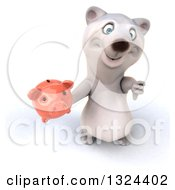 Clipart Of A 3d Happy Polar Bear Holding Up A Thumb Down And A Piggy Bank Royalty Free Illustration