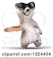 Clipart Of A 3d Happy Polar Bear Wearing Sunglasses Walking And Holding A Pizza Royalty Free Illustration