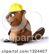 Clipart Of A 3d Happy Construction Beaver Facing Left Royalty Free Illustration