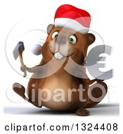 Clipart Of A 3d Christmas Beaver Walking With An Axe And Euro Symbol Royalty Free Illustration