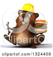 Clipart Of A 3d Happy Construction Beaver Walking With A Double Cheeseburger And Wrench Royalty Free Illustration