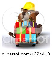 Clipart Of A 3d Happy Construction Beaver Pushing Gifts On A Dolly Royalty Free Illustration