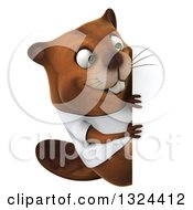 Clipart Of A 3d Happy Casual Beaver Wearing A T Shirt And Looking Around A Sign Royalty Free Illustration