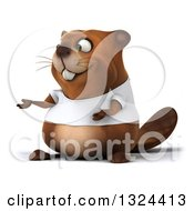 Clipart Of A 3d Happy Casual Beaver Wearing A T Shirt And Presenting Royalty Free Illustration
