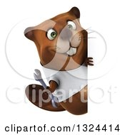 Clipart Of A 3d Happy Casual Beaver Wearing A T Shirt And Holding A Wrench Around A Sign Royalty Free Illustration