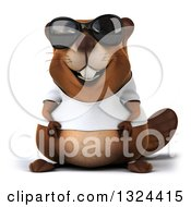 Clipart Of A 3d Happy Casual Beaver Wearing A T Shirt And Sunglasses Royalty Free Illustration