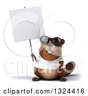 Clipart Of A 3d Happy Casual Beaver Wearing A T Shirt And Sunglasses Holding A Blank Sign Royalty Free Illustration