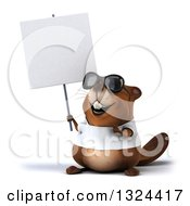 Clipart Of A 3d Happy Casual Beaver Wearing A T Shirt And Sunglasses Holding And Pointing To A Blank Sign Royalty Free Illustration by Julos