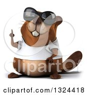 Clipart Of A 3d Happy Casual Beaver Wearing A T Shirt And Sunglasses Holding Up A Finger Royalty Free Illustration