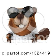 Clipart Of A 3d Happy Casual Beaver Wearing A T Shirt Sunglasses And Looking Over A Sign Royalty Free Illustration