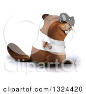 Clipart Of A 3d Happy Casual Beaver Wearing A T Shirt And Sunglasses Walking To The Right Royalty Free Illustration