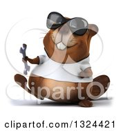 Clipart Of A 3d Happy Casual Beaver Wearing A T Shirt And Sunglasses Walking And Holding A Wrench Royalty Free Illustration