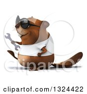 Clipart Of A 3d Happy Casual Beaver Wearing A T Shirt And Sunglasses Walking To The Left And Holding A Wrench Royalty Free Illustration