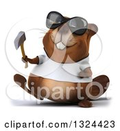 Clipart Of A 3d Happy Casual Beaver Wearing A T Shirt And Sunglasses Walking And Holding An Axe Royalty Free Illustration