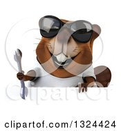 Clipart Of A 3d Happy Casual Beaver Wearing A T Shirt Sunglasses And Holding A Wrench Over A Sign Royalty Free Illustration