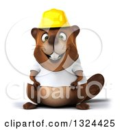 Clipart Of A 3d Construction Beaver Wearing A T Shirt And Hardhat Royalty Free Illustration