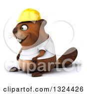 Clipart Of A 3d Construction Beaver Wearing A T Shirt And Hardhat Facing Left Royalty Free Illustration