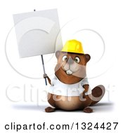Clipart Of A 3d Construction Beaver Wearing A T Shirt And Hardhat Holding A Blank Sign Royalty Free Illustration