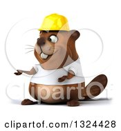 Clipart Of A 3d Construction Beaver Wearing A T Shirt And Hardhat Presenting Royalty Free Illustration