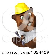 Clipart Of A 3d Construction Beaver Wearing A T Shirt And Hardhat Holding A Wrench Around A Sign Royalty Free Illustration by Julos