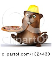 Clipart Of A 3d Happy Construction Beaver Walking With A Pizza Royalty Free Illustration