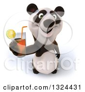 Clipart Of A 3d Happy Panda Holding Up A Beverage Royalty Free Illustration