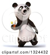 Clipart Of A 3d Happy Panda Walking And Holding A Beverage Royalty Free Illustration
