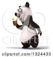 Clipart Of A 3d Happy Panda Walking To The Left And Holding A Beverage Royalty Free Illustration