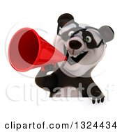 Clipart Of A 3d Happy Bespectacled Panda Announcing With A Megaphone Over A Sign Royalty Free Illustration