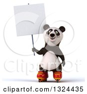 Clipart Of A 3d Happy Panda Roller Blading And Holding A Blank Sign Royalty Free Illustration