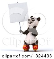Clipart Of A 3d Happy Panda Roller Blading Holding And Pointing To A Blank Sign Royalty Free Illustration