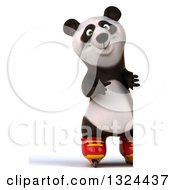 Clipart Of A 3d Full Length Happy Panda Roller Blading And Pointing Around A Sign Royalty Free Illustration