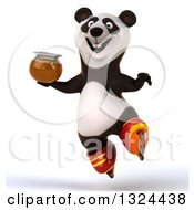 Clipart Of A 3d Happy Panda Roller Blading Jumping And Holding Honey Royalty Free Illustration