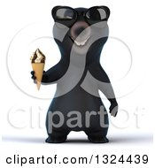 Clipart Of A 3d Happy Black Bear Wearing Sunglasses And Holding A Waffle Ice Cream Cone Royalty Free Illustration