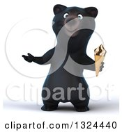 Clipart Of A 3d Happy Black Bear Presenting And Holding A Waffle Ice Cream Cone Royalty Free Illustration