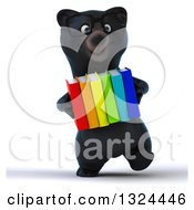 Clipart Of A 3d Bespectacled Black Bear Walking And Carrying Books Royalty Free Illustration