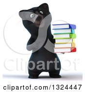 Clipart Of A 3d Bespectacled Happy Black Bear Holding And Pointing To A Stack Of Books Royalty Free Illustration