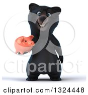 Clipart Of A 3d Happy Black Bear Holding A Piggy Bank Royalty Free Illustration