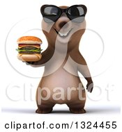 Clipart Of A 3d Happy Brown Bear Wearing Shades And Holding A Double Cheeseburger Royalty Free Illustration