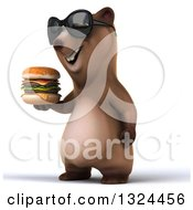 Clipart Of A 3d Happy Brown Bear Facing Left Wearing Shades And Holding A Double Cheeseburger Royalty Free Illustration