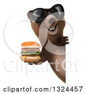 Clipart Of A 3d Happy Brown Bear Wearing Shades And Holding A Double Cheeseburger Around A Sign Royalty Free Illustration